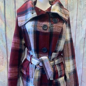 Last Kiss red plaid pea coat size Large